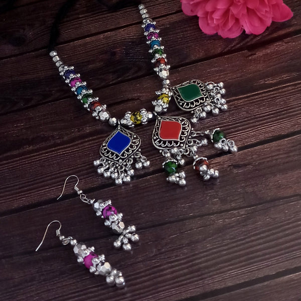 Jeweljunk Oxidised Plated Multicolor Necklace Set