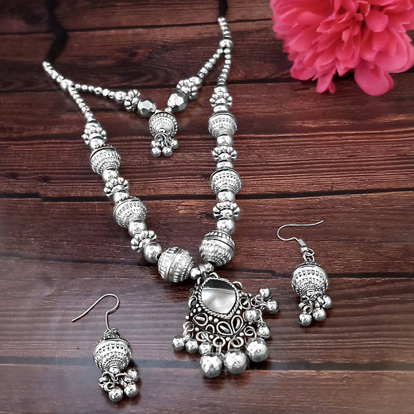 Jeweljunk Navratri Special Oxidised Plated Two LayerNecklace set