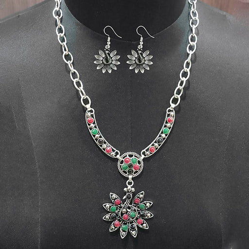 Urthn Pota Stone Peacock Design Statement Neckalce Set