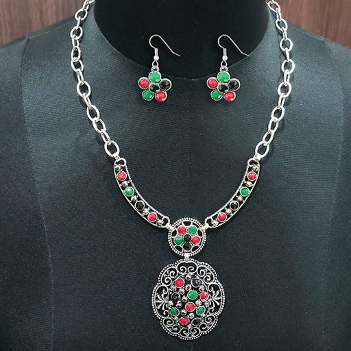 Urthn Rhodium Plated Pota Stone Statement Necklace Set