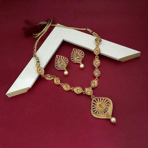 Kriaa Brown Austrian Stone Gold Plated Necklace Set  - 1113220