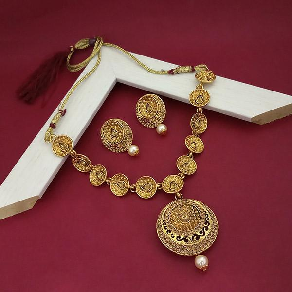 Kriaa Brown Stone Gold Plated Necklace Set  - 1113222