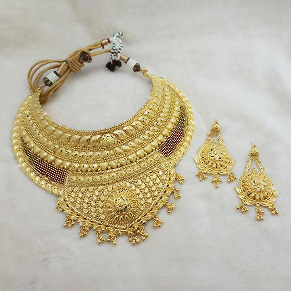 Neu Gold Copper Forming Gold Plated Choker Necklace Set