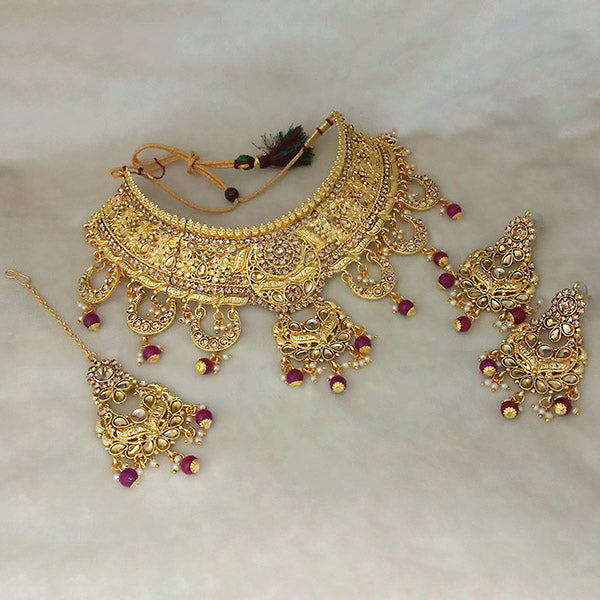 Kriaa Gold Plated Brown Austrian Stone Choker Necklace Set With Maang Tikka - 1113504B