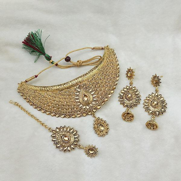 Kriaa Gold Plated Brown Kundan Choker Necklace Set With Maang Tikka - 1113602 - L
