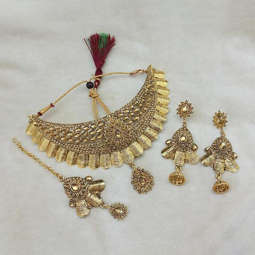 Kriaa Gold Plated Brown Kundan Choker Necklace Set With Maang Tikka - 1113605 - L