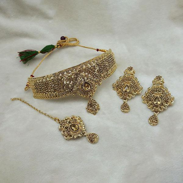 Kriaa Gold Plated Brown Kundan Choker Necklace Set With Maang Tikka - 1113614 - L