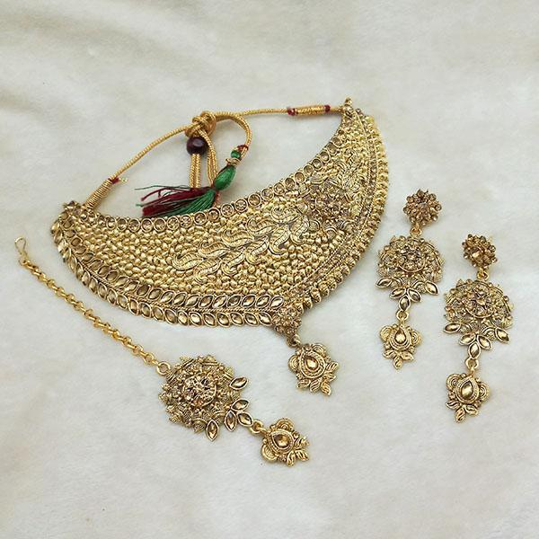 Kriaa Gold Plated Brown Kundan Choker Necklace Set With Maang Tikka - 1113616 - L