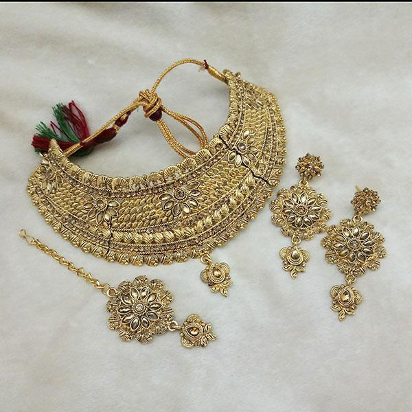 Kriaa Gold Plated Brown Kundan Choker Necklace Set With Maang Tikka - 1113619 - L