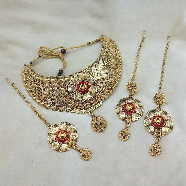 Kriaa Gold Plated Brown Kundan Choker Necklace Set With Maang Tikka - 1113621 - L