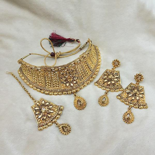 Kriaa Gold Plated Brown Kundan Choker Necklace Set With Maang Tikka - 1113622 - L