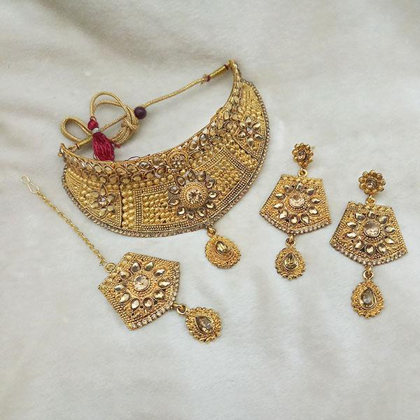 Kriaa Gold Plated Brown Kundan Choker Necklace Set With Maang Tikka - 1113624 - L
