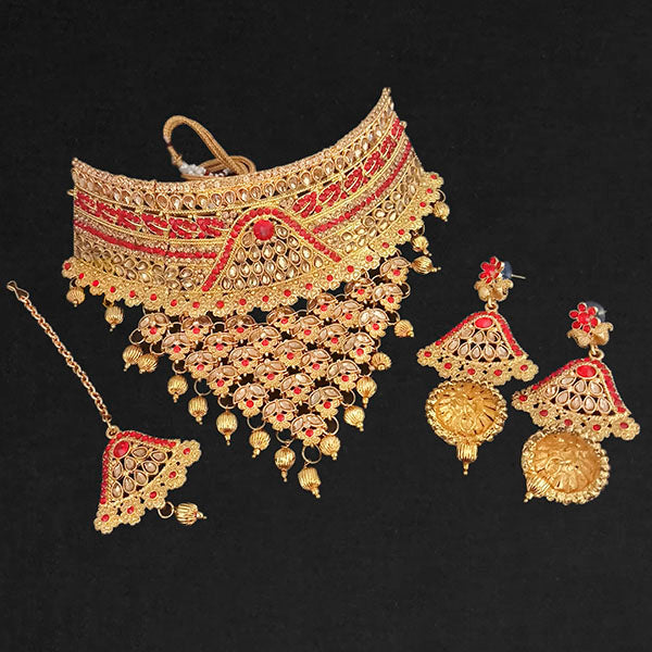 Kriaa Gold Plated Austrian Stone Choker Necklace Set With Maang Tikka