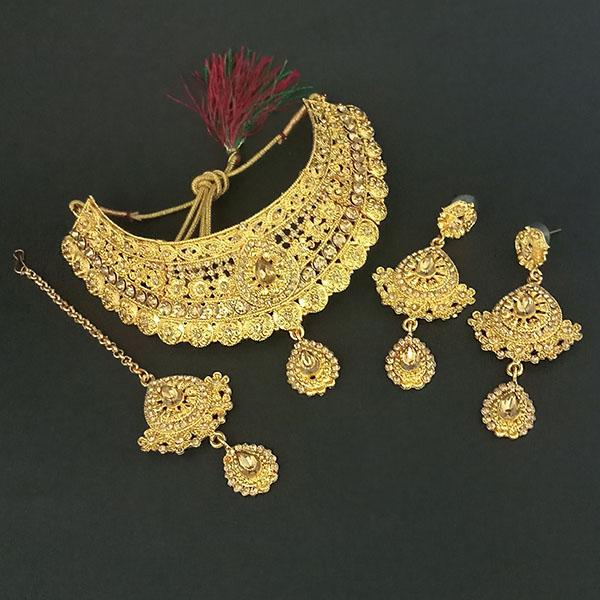 Kriaa Brown Stone Choker Necklace Set With Maang Tikka - 1113639