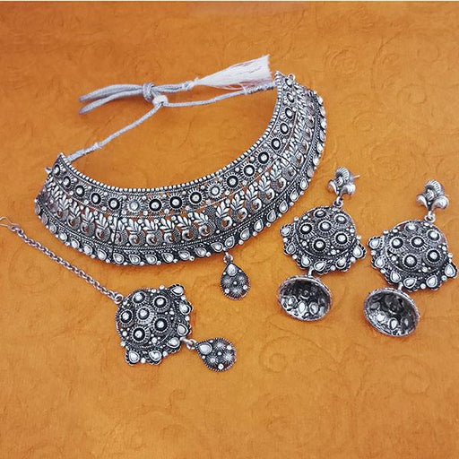 Jeweljunk Austrian Stone Oxidised Choker Necklace Set With Maang Tikka - 1113650