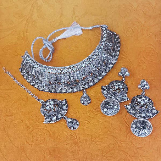 Jeweljunk Austrian Stone Oxidised Choker Necklace Set With Maang Tikka - 1113651
