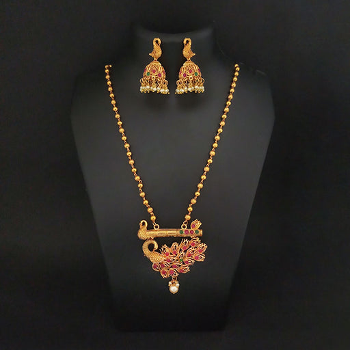 Kriaa Maroon And Green Pota Stone Peacock Necklace Set