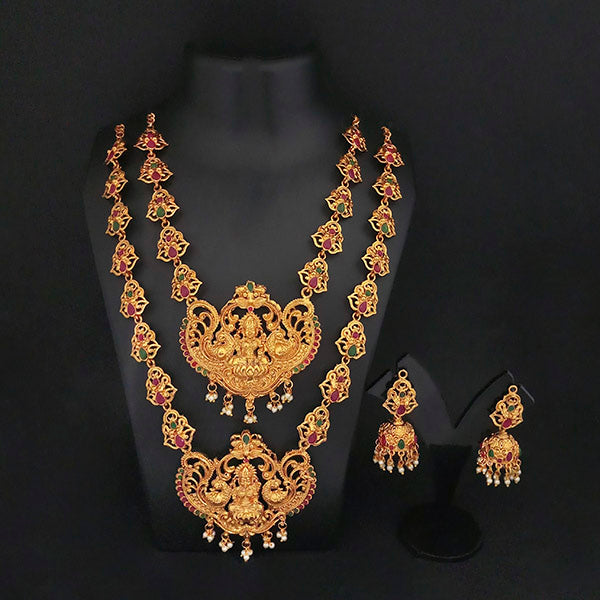 Kriaa Maroon Stone Double Gold Plated Necklace Set