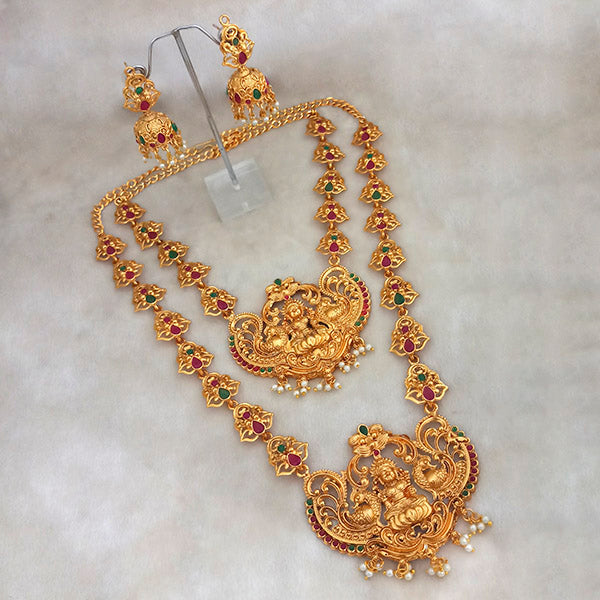 Native Haat Maroon Stone Double Gold Plated Necklace Set