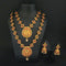 Native Haat Maroon Stone Double Gold Plated Necklace Set-N1113714