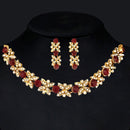 Kriaa Gold Plated Maroon Austrian Stone Necklace Set