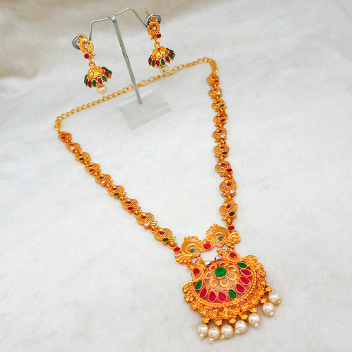Kriaa Maroon And Green Pota Stone Necklace Set