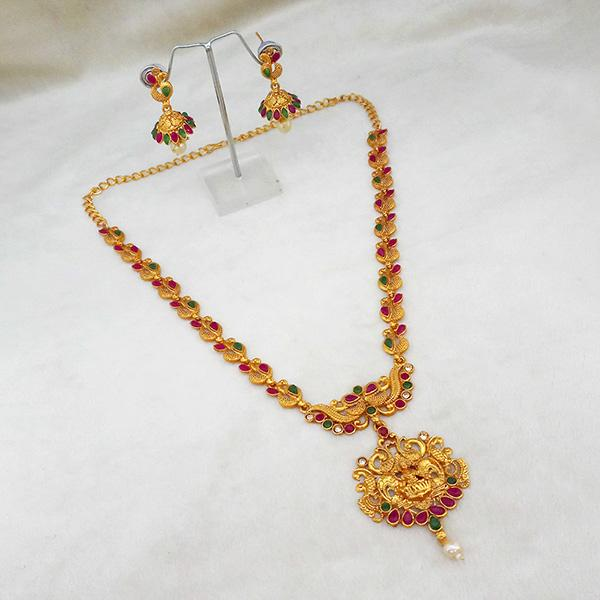 Native Haat Maroon And Green Pota Stone Necklace Set - N1113717