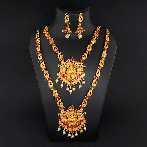 Kriaa Maroon Stone Double Gold Plated Necklace Set - 1113722