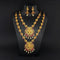 Kriaa Maroon Stone Double Gold Plated Necklace Set - 1113724