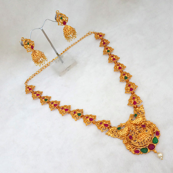 Native Haat Maroon And Green Pota Stone Lakshmi Necklace Set