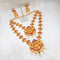Kriaa Maroon Stone Double Gold Plated Necklace Set - 1113731