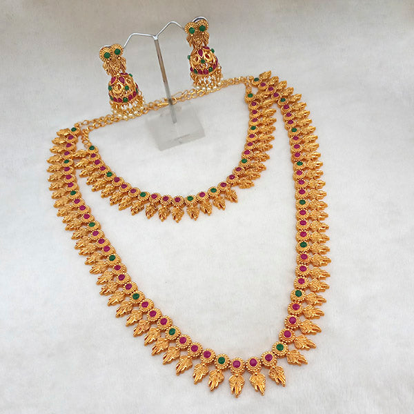 Kriaa Maroon And Green Pota Stone Double Gold Plated Necklace Set - 1113732A