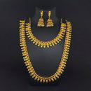 Kriaa Maroon And Green Pota Stone Double Gold Plated Necklace Set - 1113733A