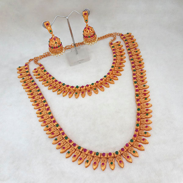 Kriaa Maroon And Green Pota Stone Double Gold Plated Necklace Set - 1113733B