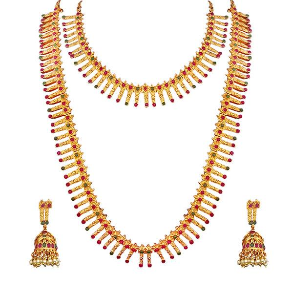 Kriaa Maroon And Green Pota Stone Double Gold Plated Necklace Set - 1113735B