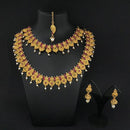 Kriaa Maroon Stone Double Gold Plated Necklace Set - 1113737A