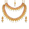 Kriaa Maroon Stone Double Gold Plated Necklace Set - 1113737B