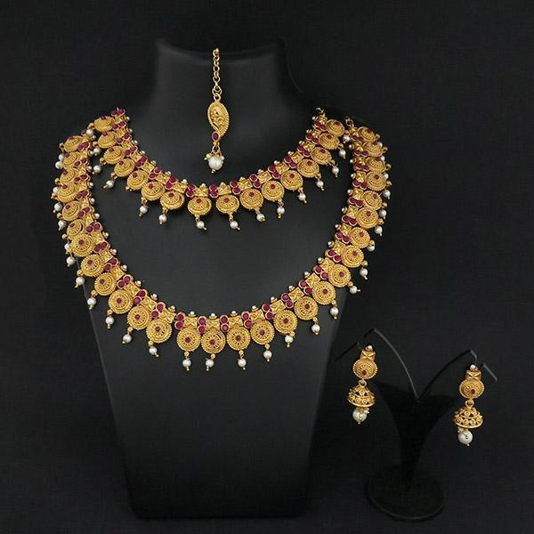 Native Haat Maroon Stone Double Gold Plated Necklace Set  - N1113737B