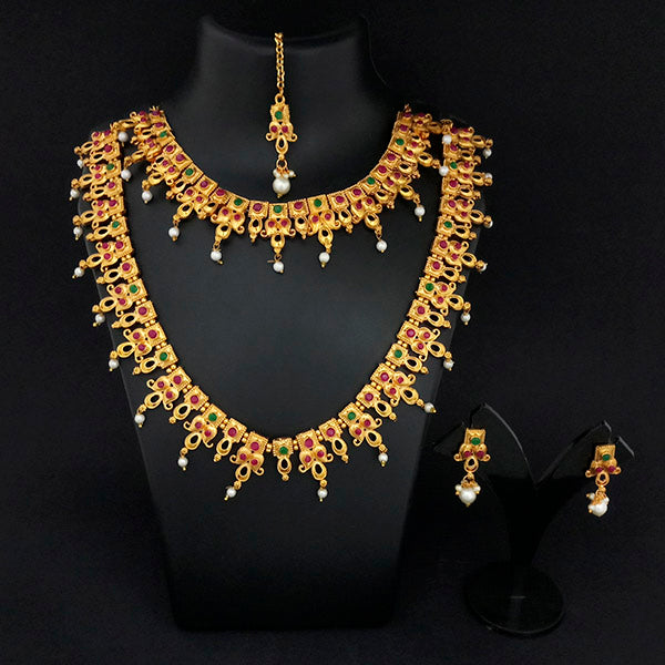 Kriaa Maroon And Green Stone Double Gold Plated Necklace Set - 1113738A