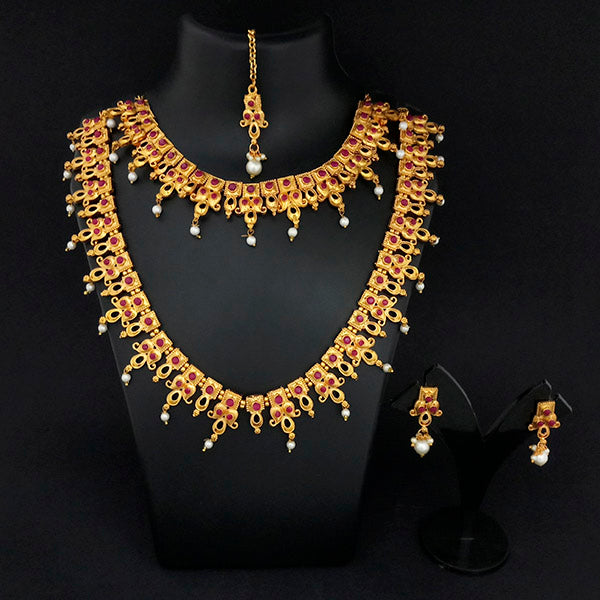 Kriaa Maroon And Green Stone Double Gold Plated Necklace Set - 1113738B