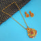 Native Haat Maroon And Green Pota Stone Necklace Set - N1113751
