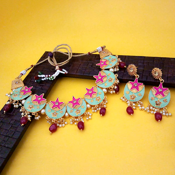 kriaa Green And Pink Meenakari And Austrian Stone Necklace Set