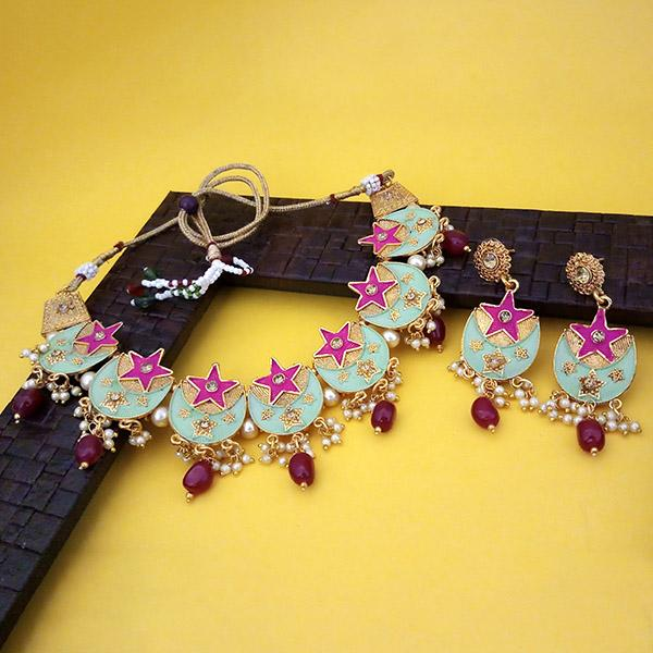 Native Haat Green And Pink Meenakari And Austrian Stone Necklace Set - N1113802