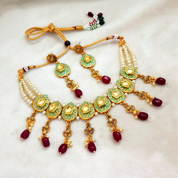 kriaa Green Meenakari And Austrian Stone Necklace Set