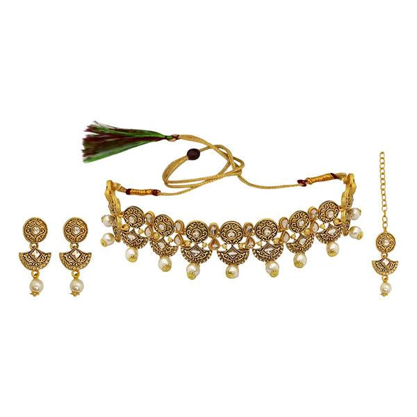 Kriaa Gold Plated Brown Austrian Stone Necklace Set With Maang Tikka - 1113814