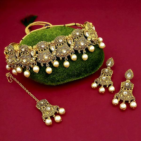 Kriaa Gold Plated Brown Austrian Stone Choker Necklace Set With Maang Tikka  - 1113816 - C