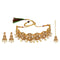 Kriaa Gold Plated Brown Austrian Stone Choker Necklace Set With Maang Tikka - 1113816