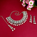 Kriaa Silver Plated White Stone And Kundan Choker Necklace Set With Maang Tikka - 1113821