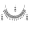 Kriaa Silver Plated White Stone And Kundan Choker Necklace Set With Maang Tikka - 1113822