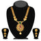 Kriaa Maroon And Green Austrian Stone Gold Plated Necklace Set - 1113903